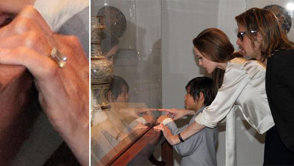 Angelina Jolie, Brad Pitt and their son Pax view works from LACMA's Chinese collection on Wednesday, April 11, 2012.
