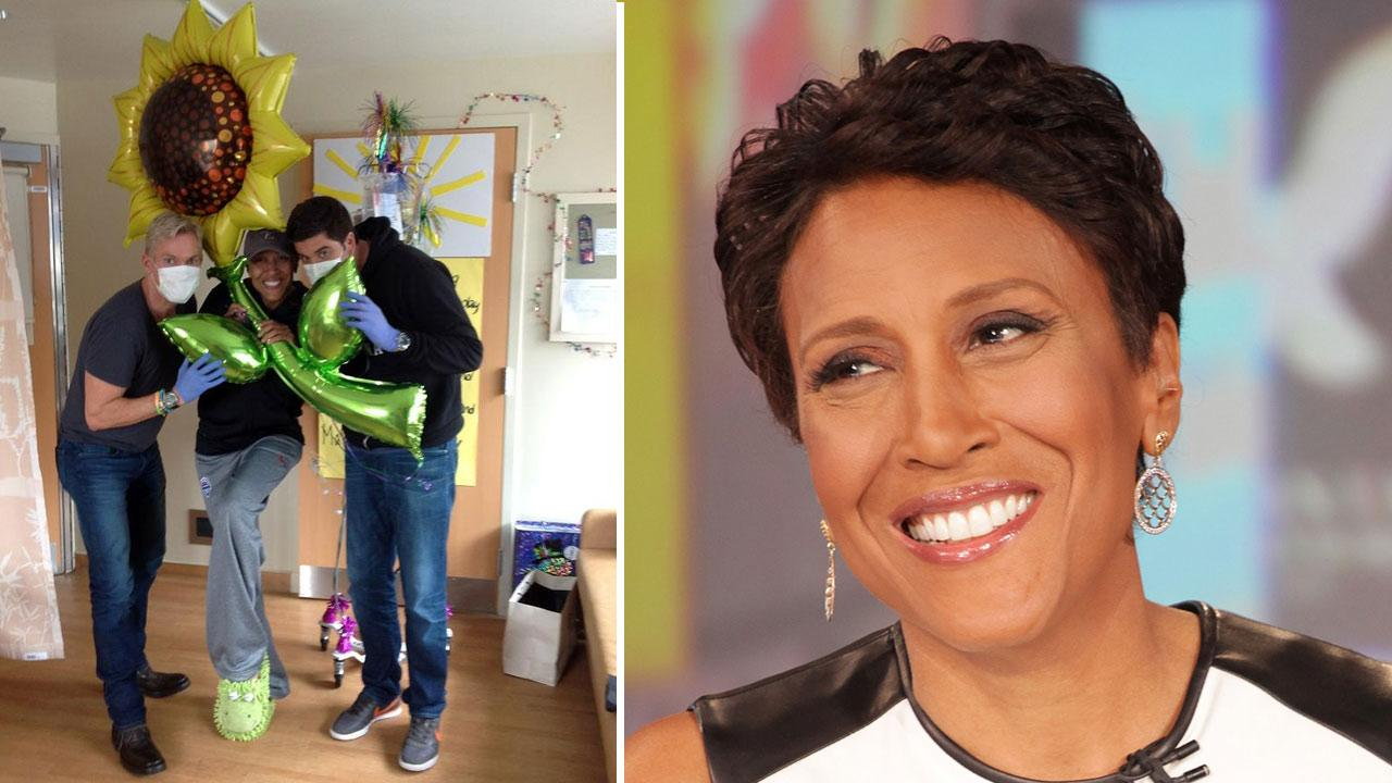 Robin Roberts appears on Good Morning America on Aug. 30, 2012. /  Roberts appears with Sam Champion and Josh Elliott in a Twitter photo taken on October 3, 2012.ABC / twitter.com/RobinRoberts