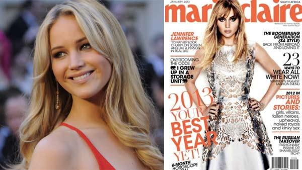 Jennifer Lawrence appears on the cover of Marie Claire South Africa for the January 2013. / Jennifer Lawrence arrives for the 83rd Annual Academy Awards at the Kodak Theatre in Hollywood, CA on February 27, 2011. - Provided courtesy of A.M.P.A.S. / Marie Claire
