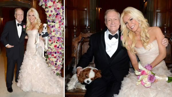 Hugh Hefner and Crystal Harris posed with their Cavalier King Charles Spaniel Charlie for an official wedding photo. The two tied the knot at the Playboy Mansion on Dec. 31, 2012 -- New Years Eve. - Provided courtesy of Elayne Lodge / Playboy Enterprises, Inc.