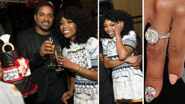 Brandy shows off her engagement ring at a New Years Eve party she hosted at the LAVO nightclub in Las Vegas on Dec. 31, 2012. The singer reportedly got engaged to Ryan Press earlier in the month. - Provided courtesy of Al Powers / Powers Imagery