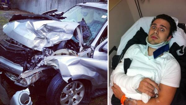 A photo of Kris Allens car after the accident posted by Kris Allen on Twitter on January 1. / Allen appears in a photo shared by his mother, Kimberly Allen, on her Twitter account. - Provided courtesy of Twitter.com/KrisAllen / Twitter.com/allen_kimberly