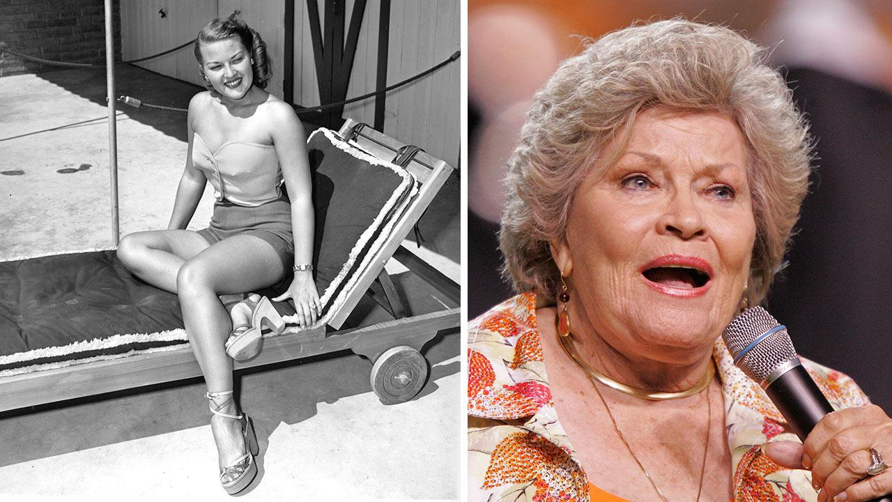 Patti Page is shown wearing part of a weekend ensemble by Wilroy of New York during her business trip in Miami on March 24, 1951. / Patti Page performs the Tennessee Waltz during an NCAA college football game in Tennessee on Sept. 26, 2009.