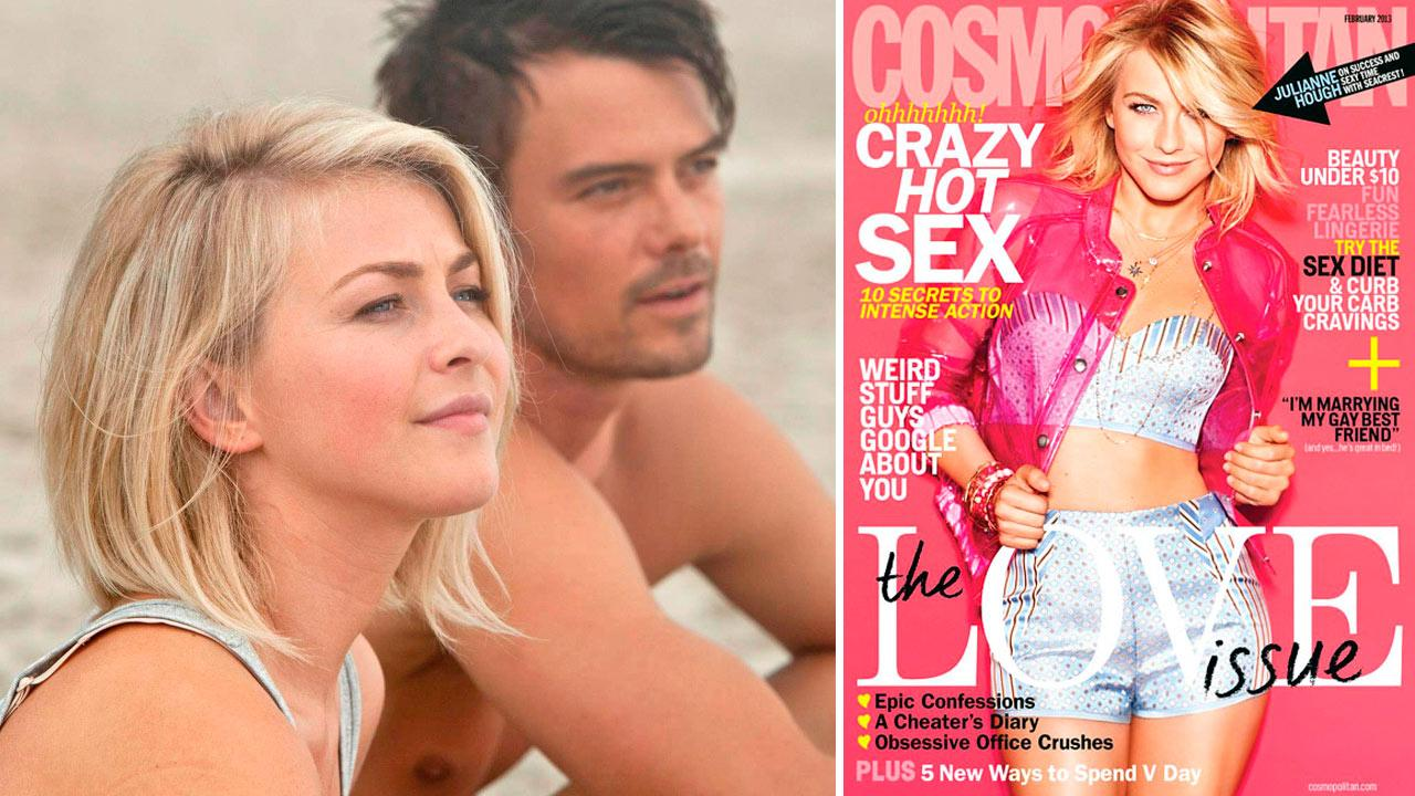 Julianne Hough and Josh Duhamel appear in a scene from the 2013 film Safe Haven. / Hough appears on the cover of the February 2013 issue of Cosmopolitan magazine.