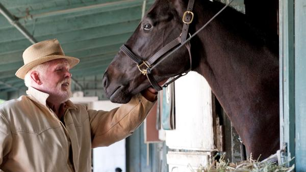A horse and Nick Nolte appear in a scene from the HBO series Luck in 2011. - Provided courtesy of HBO