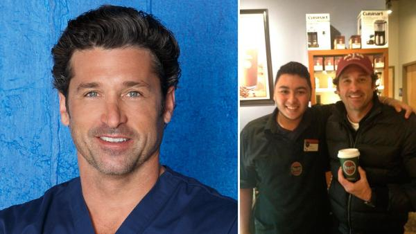 Patrick Dempsey appears in a 2012 promotional photo for Greys Anatomy. / Dempsey is seen posing with a Tullys Coffee employee in a photo posted on his Twitter page on January 2, 2013. - Provided courtesy of ABC / Twitter.com/PatrickDempsey