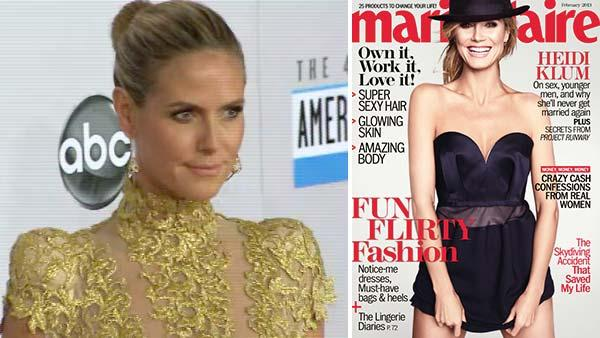 Heidi Klum poses on the red carpet at the 2012 American Music Awards (AMAs) in L.A. on Nov. 18, 2012. / Heidi Klum appears on the cover of Marie Claire magazines February 2013 issue. - Provided courtesy of OTRC / Hearst Communication, Inc.