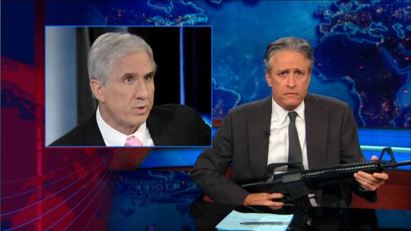 Jon Stewart appears on the January 8, 2013 episode of The Daily Show. - Provided courtesy of Comedy Central