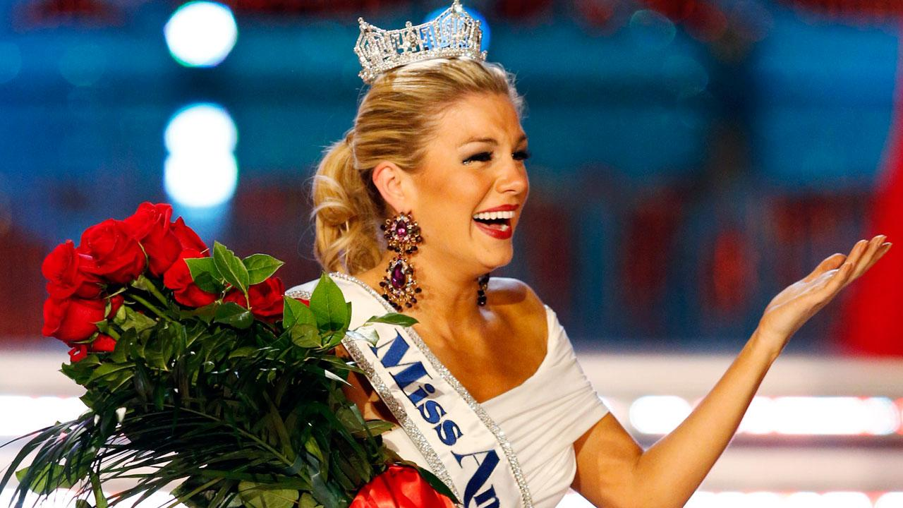 Miss New York, Mallory Hagan, appears in a photo shortly after winning the title of Miss America 2013 on January 12, 2013.