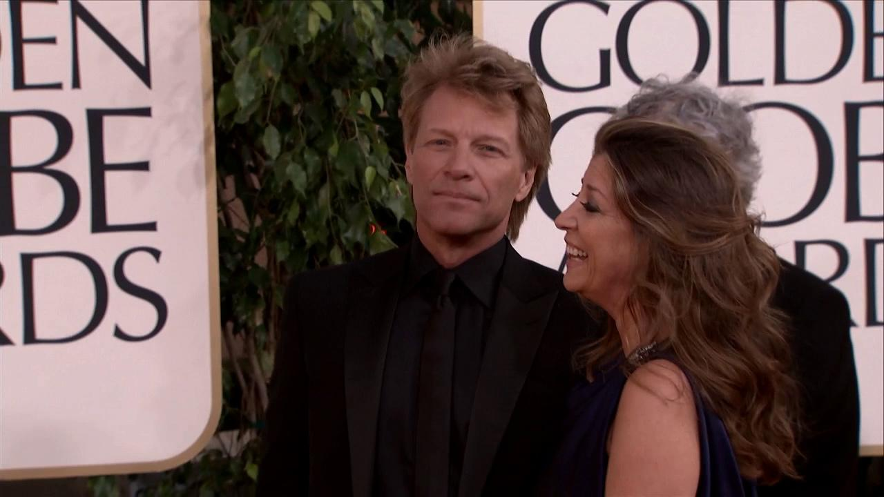 Jon Bon Jovi and wife Dorothea appear at the 2013 Golden Globe Awards in Beverly Hills, California on Jan. 13, 2013.