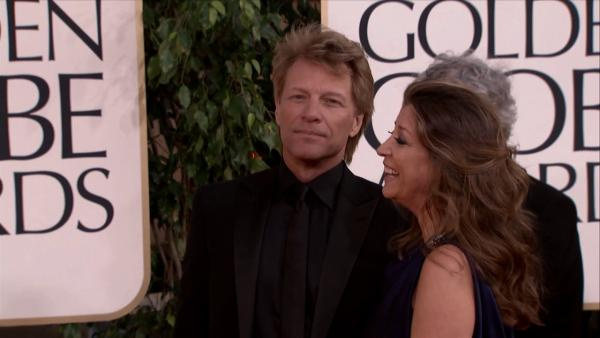 Bon Jovi walks the 2013 Golden Globes red carpet