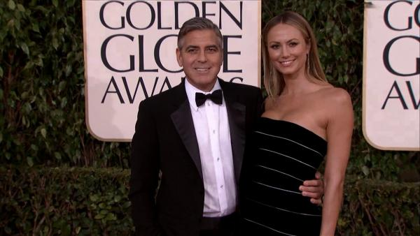 George Clooney and Stacy Keibler appear at the 2013 Golden Globe Awards in Beverly