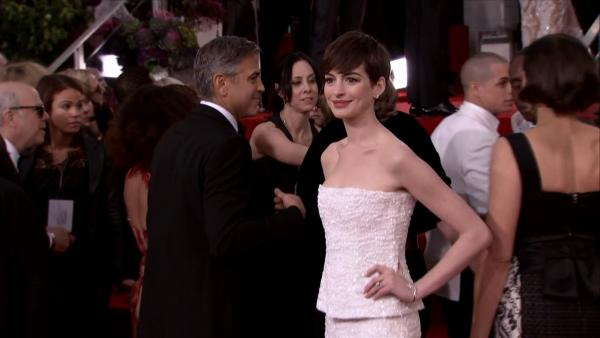 Anne Hathaway appears at the 2013 Golden Globe Awards in Beverly Hills, California on Jan. 13, 2013.