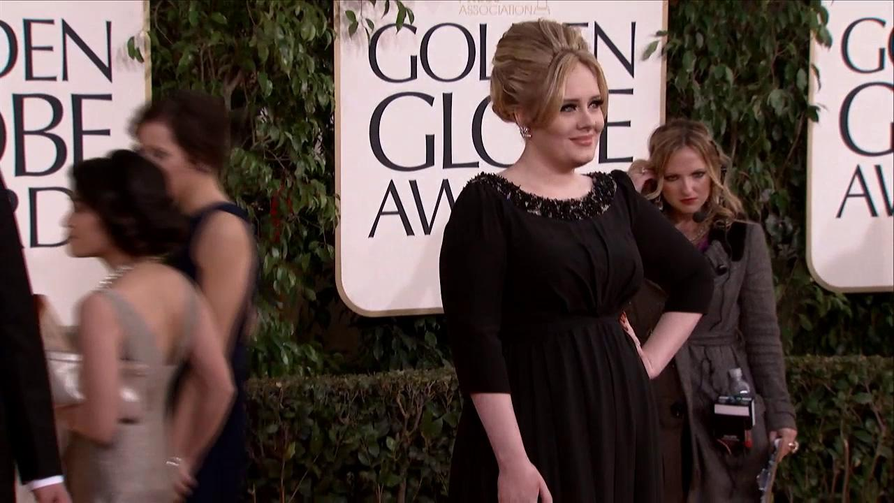 Adele appears at the 2013 Golden Globe Awards in Beverly Hills, California on Jan. 13, 2013.