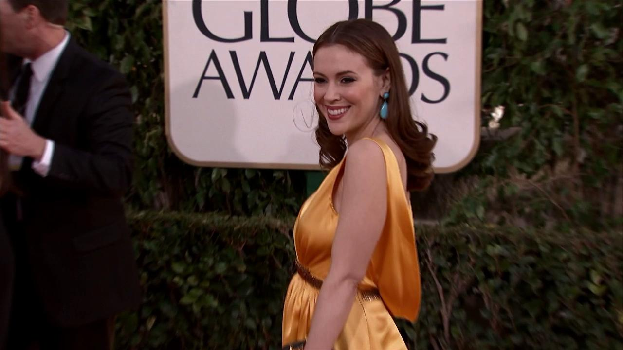 Alyssa Milano appears at the 2013 Golden Globe Awards in Beverly Hills, California on Jan. 13, 2013.