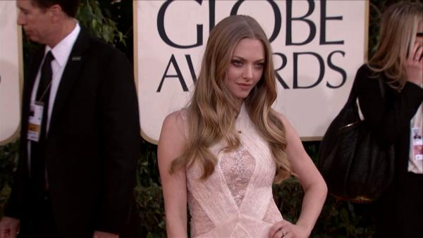 Amanda Seyfried appears at the 2013 Golden Globe Awards in Beverly Hills, California on Jan. 13, 2013.