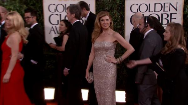 Connie Britton (ABC's 'Nashville') appears at the 2013 Golden Globe Awards in Beverly Hills, California on Jan. 13, 2013.