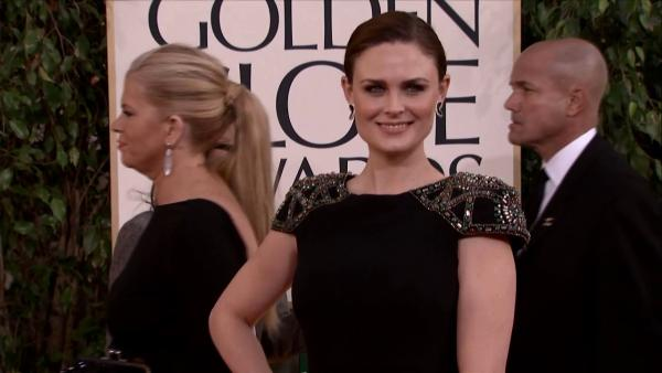 Emily Deschanel (FOX's 'Bones') appears at the 2013 Golden Globe Awards in Beverly Hills, California on Jan. 13, 2013.