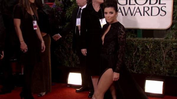 Eva Longoria appears at the 2013 Golden Globe Awards in Bev