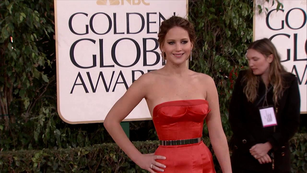 Jennifer Lawrence appears at the 2013 Golden Globe Awards in Beverly Hills, California on Jan. 13, 2013.