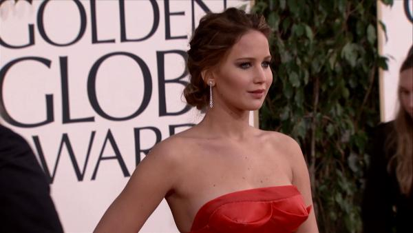 Jennifer Lawrence appears at the 2013 Golden Globe Awards in Beverly Hills, California on Jan. 13,
