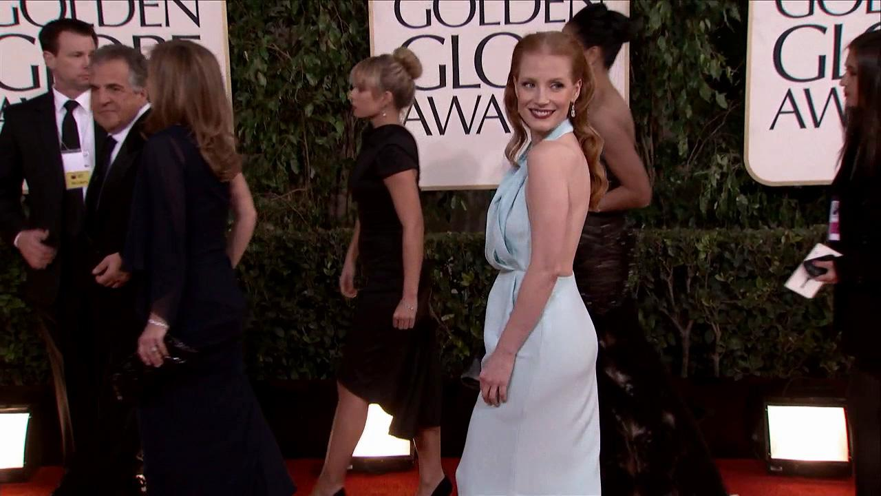 Jessica Chastain appears at the 2013 Golden Globe Awards in Beverly Hills, California on Jan. 13, 2013.