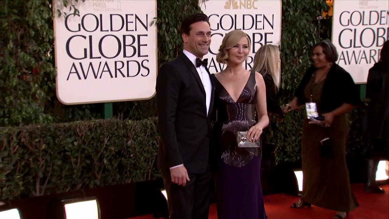 Jon Hamm and girlfriend Jennifer Westfeldt appear at the 2013 Golden Globe Awards in Beverly Hills, California on Jan. 13, 2013.