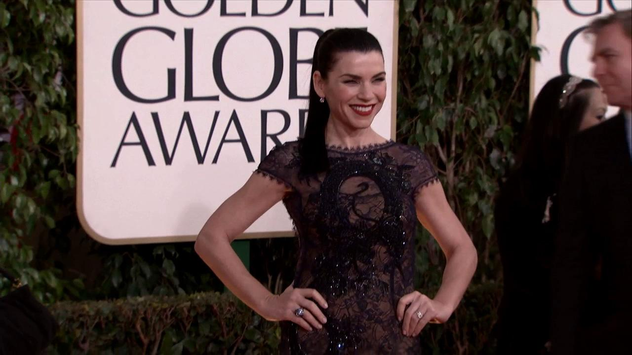 Julianna Margulies appears at the 2013 Golden Globe Awards in Beverly Hills, California on Jan. 13, 2013.