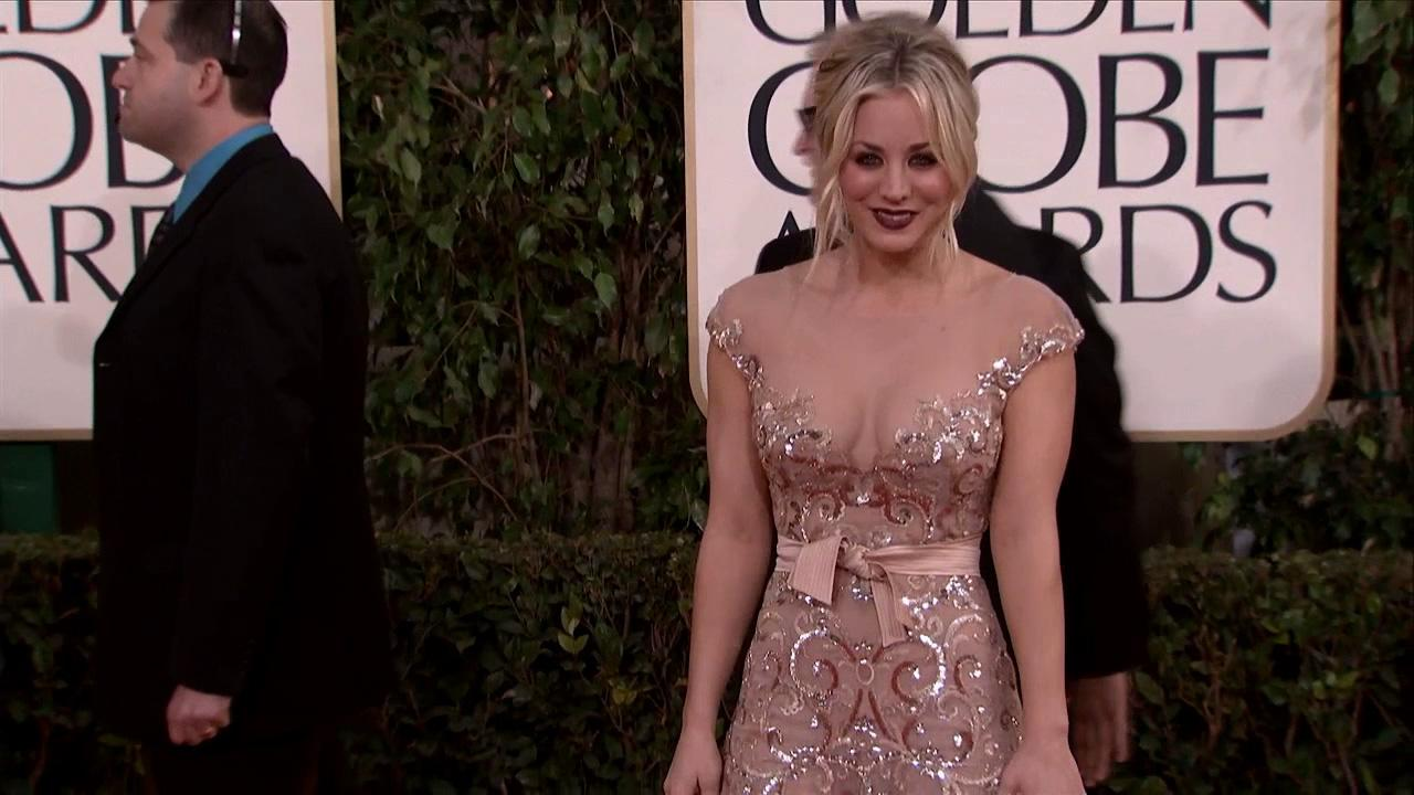 Kaley Cuoco (CBS The Big Bang Theory) appears at the 2013 Golden Globe Awards in Beverly Hills, California on Jan. 13, 2013.