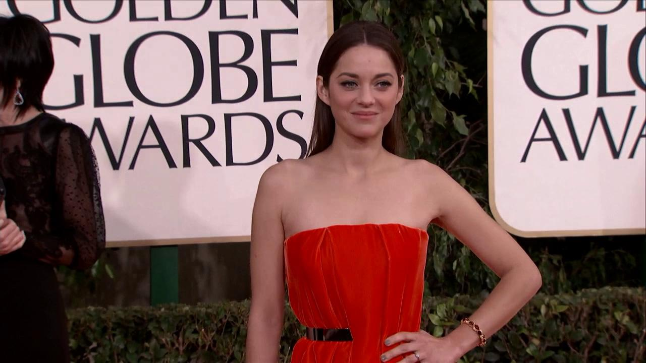 Marion Cotillard appears at the 2013 Golden Globe Awards in Beverly Hills, California on Jan. 13, 2013.