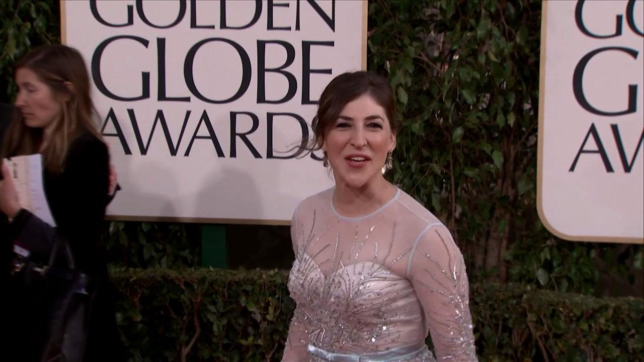 Mayim Bialik (CBS The Big Bang Theory, Blossom) appears at the 2013 Golden Globe Awards in Beverly Hills, California on Jan. 13, 2013.