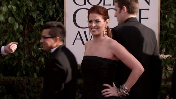 Debra Messing (NBC's 'Smash,' 'Will and Grace') appears at the 2013 Golden Globe Awards in Beverly Hills, California on