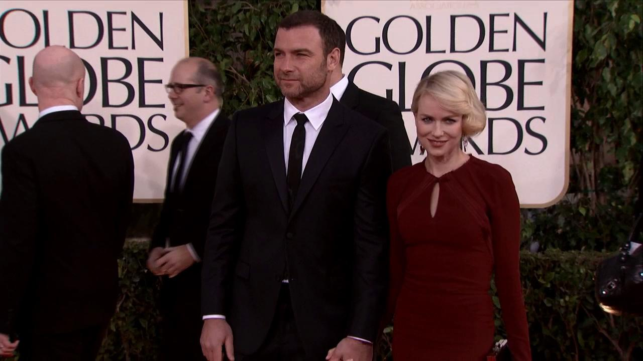 Naomi Watts and husband Liev Schreiber appear at the 2013 Golden Globe Awards in Beverly Hills, California on Jan. 13, 2013.