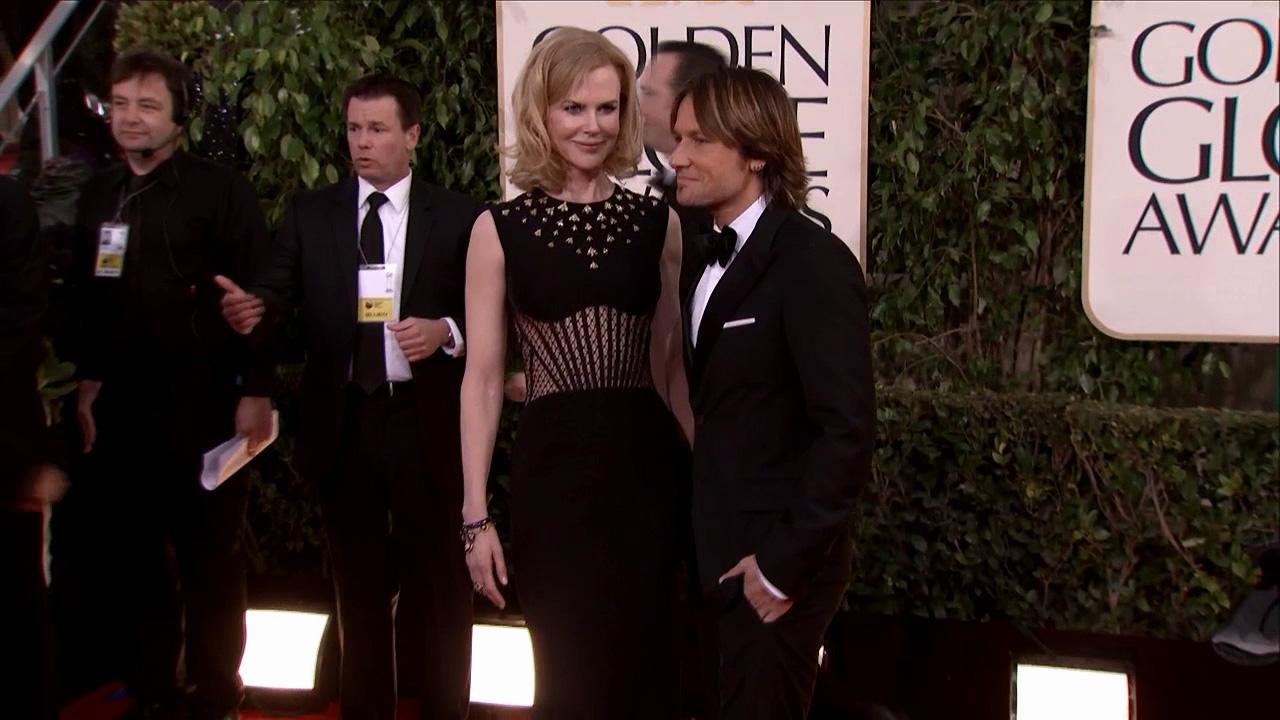 Nicole Kidman and husband Keith Urban appear at the 2013 Golden Globe Awards in Beverly Hills, California on Jan. 13, 2013.