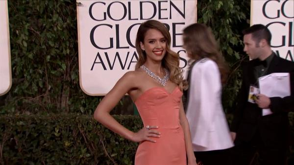Jessica Alba appears at the 2013 Golden Globe Awards in Beverly Hills, California on Jan. 13, 2013.