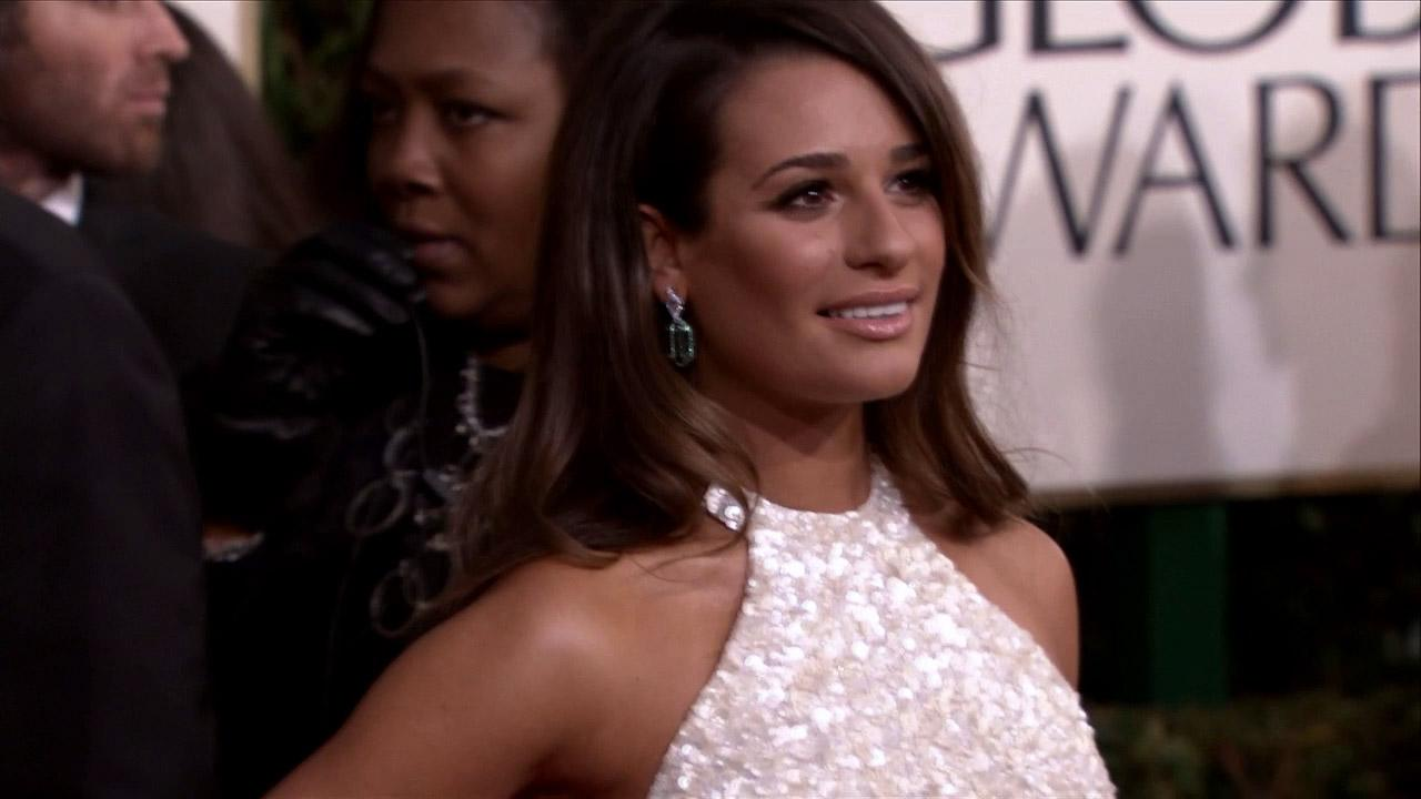 Lea Michele appears at the 2013 Golden Globe Awards in Beverly Hills, California on Jan. 13, 2013.