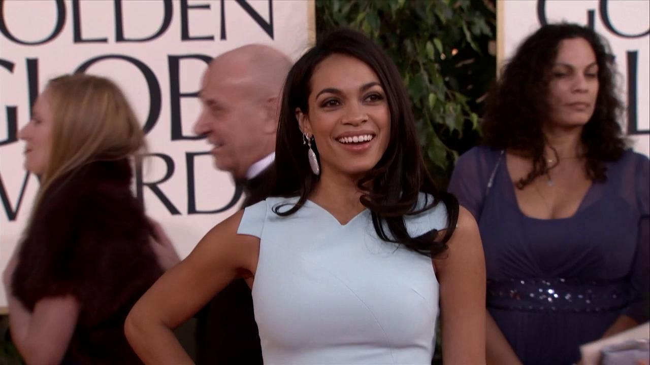 Rosario Dawson appears at the 2013 Golden Globe Awards in Beverly Hills, California on Jan. 13, 2013.