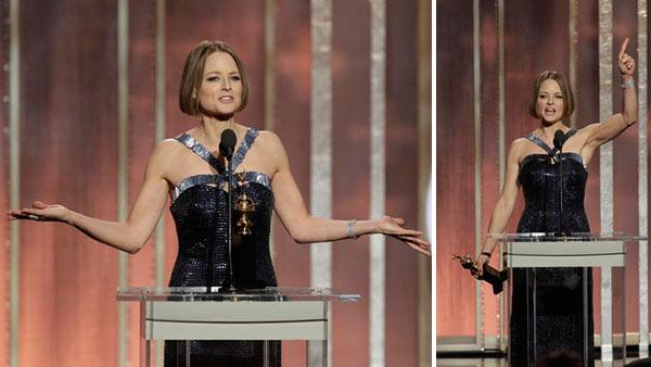Jodie Foster gives a passionate speech referencing her former female partner and acting future after receiving the Cecil B. Demille Award during the 70th Annual Golden Globe Awards held at the Beverly Hilton Hotel on Jan. 13, 2013. - Provided courtesy of Paul Drinkwater / NBC