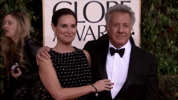 Dustin Hoffman and his wife, Lisa, appear at the 2013 Golden Globe Awards in Beverly Hills, California on Jan. 13, 2013.