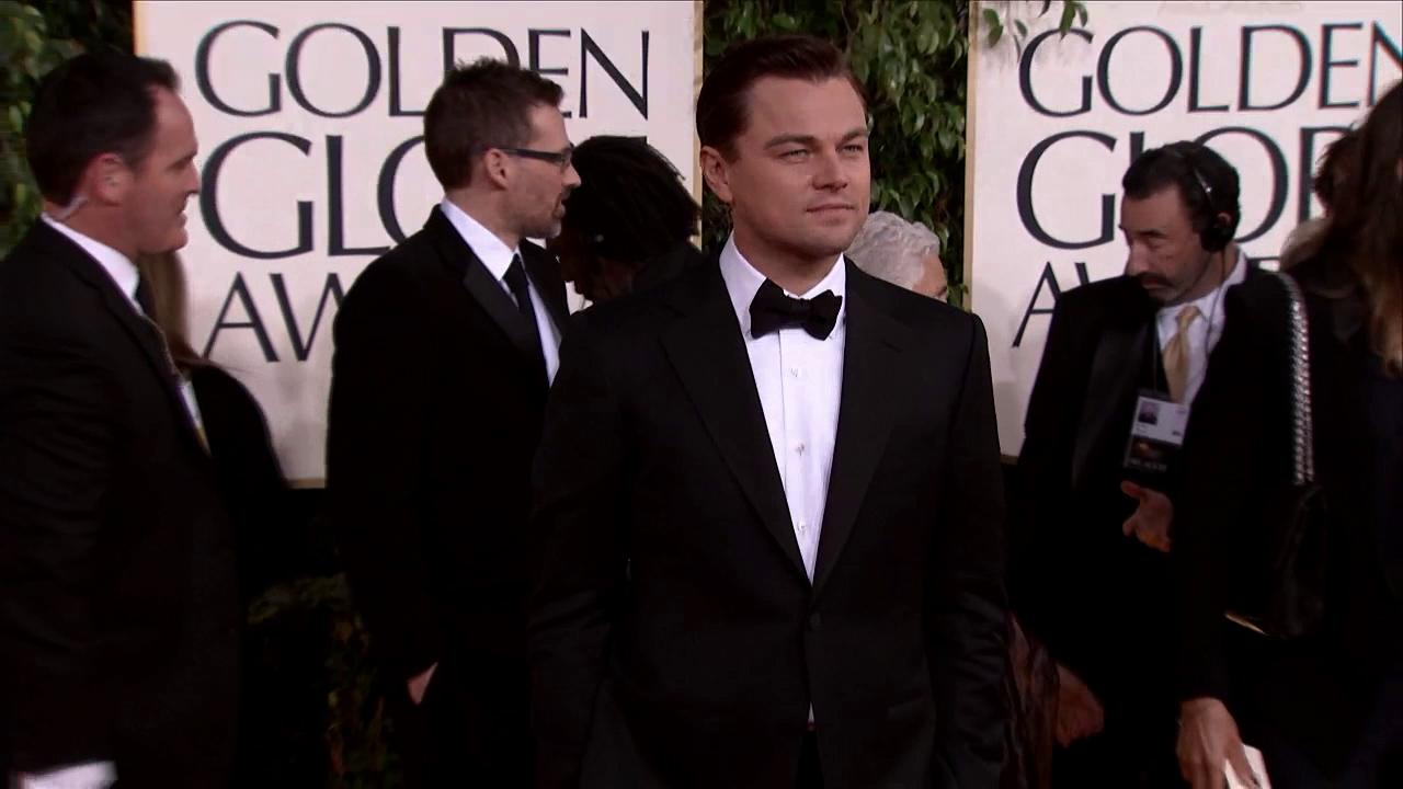 Leonardo DiCaprio appears at the 2013 Golden Globe Awards in Beverly Hills, California on Jan. 13, 2013.
