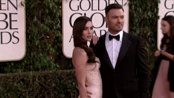 Megan Fox and husband Brian Austin Green appear at the 2013 Golden Globe Awards in Beverly Hills, California on Jan. 13, 2013.
