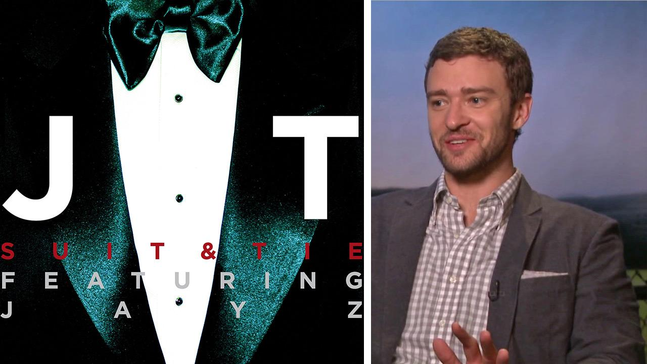 The cover art for Justin Timberlakes new 2013 single Suit and Tie, featuring Jay-Z. / Justin Timberlake talks to OTRC.com about the film Trouble with the Curve in September 2012.