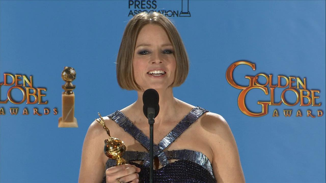 Jodie Foster talks to reporters backstage at the 2013 Golden Globes on Jan. 13, 2013.