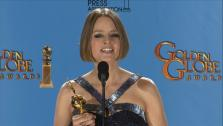 Jodie Foster talks to reporters backstage at the 2013 Golden Globes on Jan. 13, 2013. - Provided courtesy of OTRC