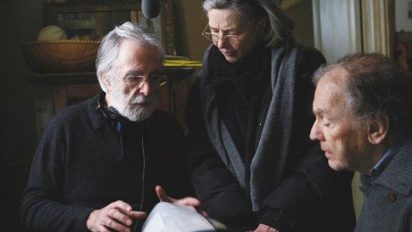 Jean-Louis Trintignant, Michael Haneke and Emmanuelle Riva appear in a promotional photo for 'Amour.'