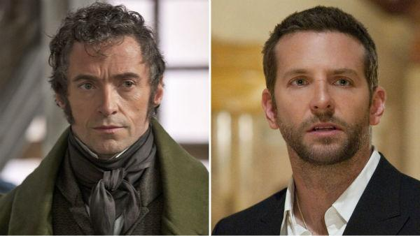 Hugh Jackman appears in a scene from 'Les Miserables.' / Bradley Cooper appears in a scene from 'Silver Linings Playbook.'