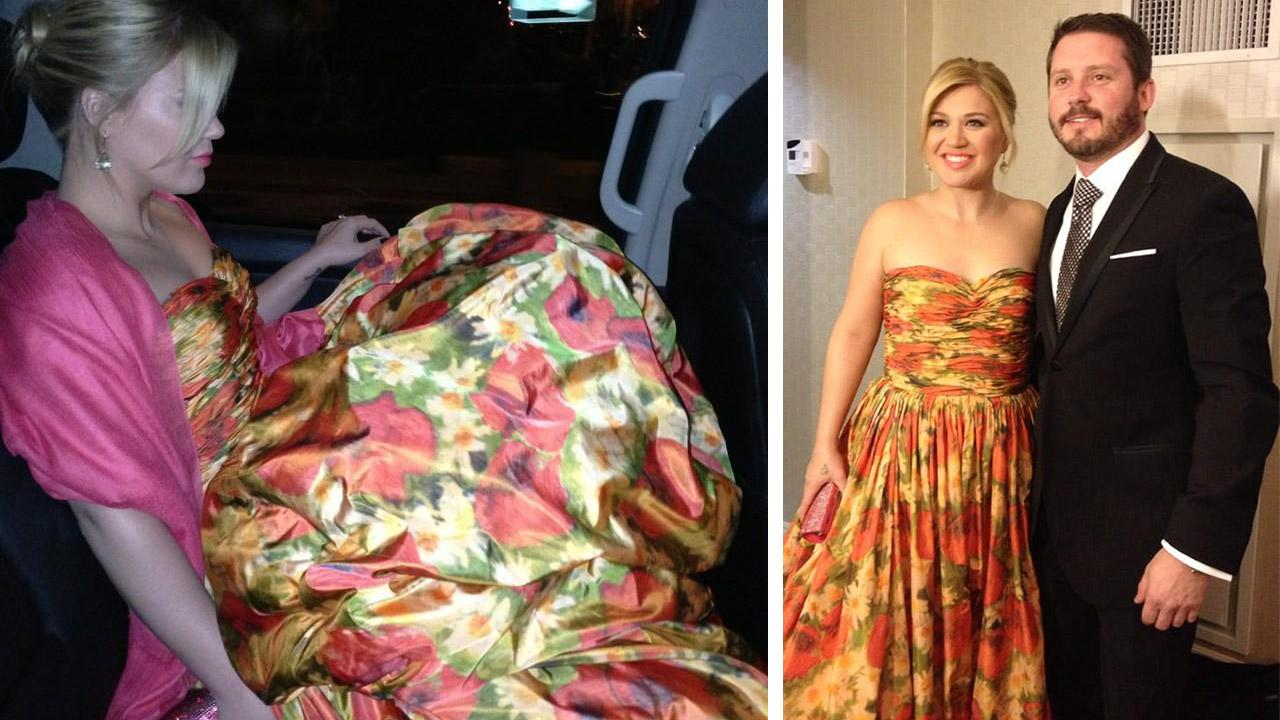 Kelly Clarkson wore this strapless Oscar de la Renta floral gown to the Inaugural Ball honoring President Barack Obama on Jan. 21, 2013. She attended with her fiance, Brandon Blackstock.