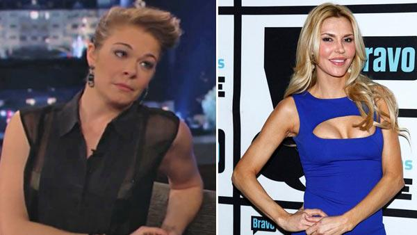 LeAnn Rimes appears during an interview on Jimmy Kimmel Live! on Jan. 22, 2013. / Brandi Glanville appears in a promotional photo for her Jan. 21, 2013 appearance on Watch What Happens Live. - Provided courtesy of ABC / Bravo