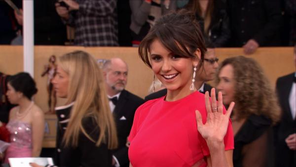 Nina Dobrev ('The Vampire Diaries') poses on the red carpet at the 2013 SAG Awards in Los Angeles on Jan. 27, 2012.
