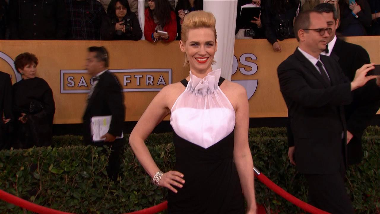 January Jones (Mad Men) poses on the red carpet at the 2013 SAG Awards in Los Angeles on Jan. 27, 2012.